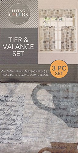 Coffee Kitchen Tier & Valance Set Gray, Brown, Blue, Tan (Polyester Tiers Valance)