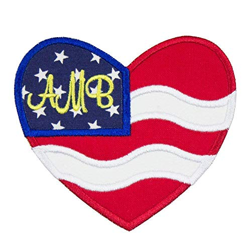 American Flag Monogram Patch - Iron on patch