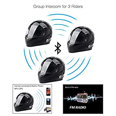 FreedConn Bluetooth Motorcycle Helmets Integrated Modular Flip up Dual Visors Full Face Built-in Bluetooth Intercom Communication Range 500M FM Radio (Matte Black,Large): Automotive