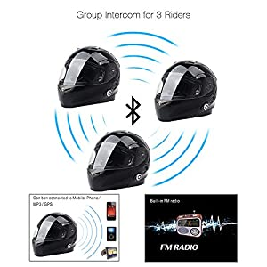 Bluetooth Motorcycle Helmets FreedConn Full Face Integrated Modular Flip up Dual Lens Helmet With 500M FM Radio GPS Intercom Headset Communication (DOT approved,Gloss Black, X Large)