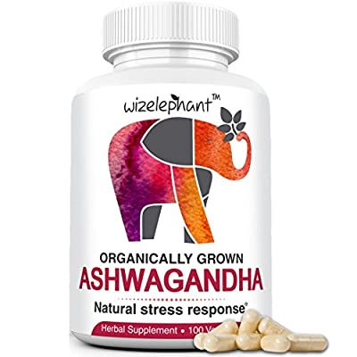 Organic Ashwagandha - Adaptogenic Herb. Root powder - 100 Vegan Capsules - 50 day supply. Anti-Anxiety - Stress Relief - Mood & Hormonal Balance - Thyroid support - Better Sleep.