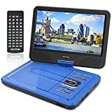WONNIE 10.5 Inch Portable DVD Player for Kids with Swivel Screen, 4 Hours Rechargeable Battery, Support USB / SD Slot (Blue)