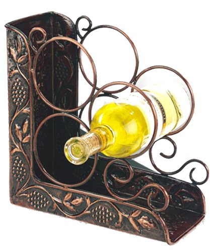 Old Dutch International 9¾ Inch x 4¾ Inch x 10¾ Inch Antique Embossed 3 Bottle Wine Rack (Old Antique Bottles)