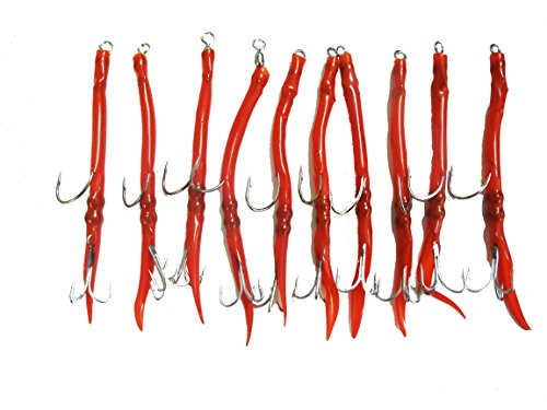 EAT MY TACKLE 10 Pack Red Rigged Tube Fishing Lures