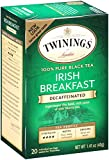 Twinings of London Decaffeinated Irish Breakfast Tea, 20 Count (Pack of 6)