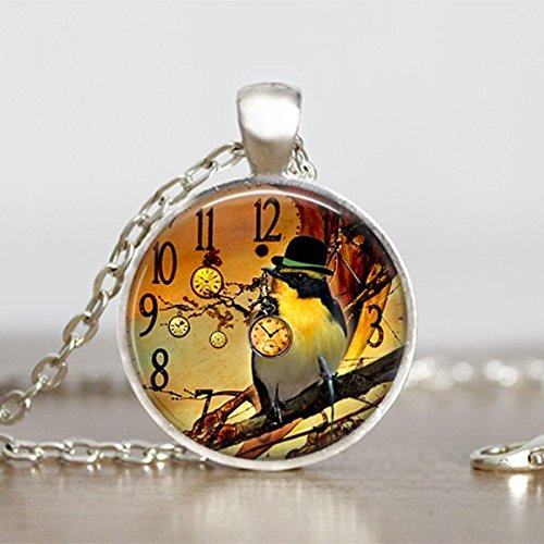 Bird with Hat Pendant Steampunk Necklace Round Handmade Jewelry Sooty Christmas Party