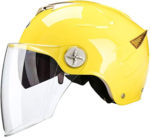 Motorcycle Helmet Female//Men Summer Sunscreen Electric Car Safety Helmet Four Seasons Bicycle Universal Color : Yellow