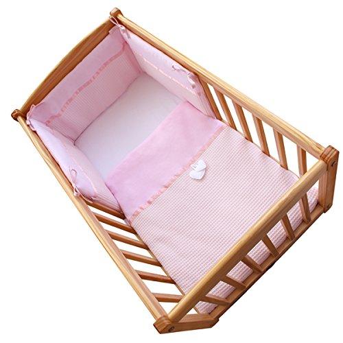 Clair de Lune Soft Waffle Heart 2 Piece Rocking Crib/Cradle Quilt & Bumper Bedding Set, Pink