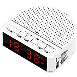 Alarm Clock Radio, Bluetooth Speaker Built-in Microphone with Red Digit Display FM Radio Bedside Led Alarm Clock for Bedrooms Hotels Tables,White