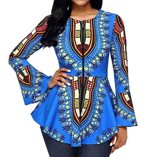 Clearance Women Tops LuluZanm Printed Zipper Closure Blouse Asymmetric Hem Long Sleeve Tops (Sky Blue, M)
