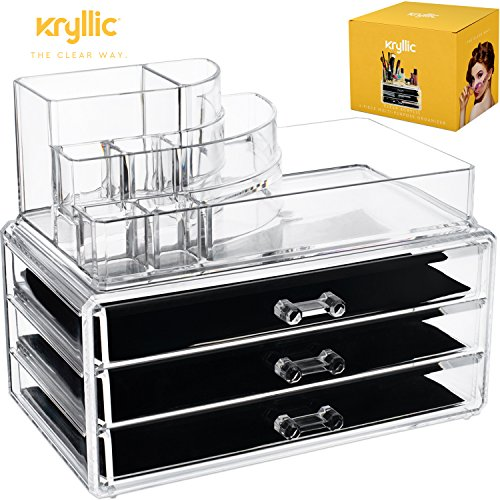 Acrylic Makeup Cosmetic Storage Organizer - 3 case drawer with 8 slot organizers for brush palette lipstick pens make up nailpolish lotion and creams! Countertop box tray drawers for vanity or bedroom by Kryllic