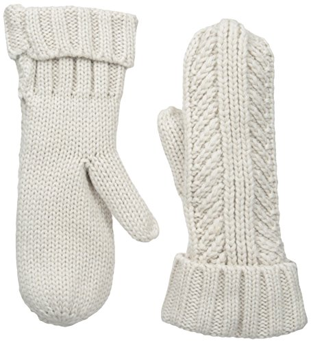 Bickley & Mitchell Women's Cable Knit Mitten with Faux Sherpa Lining, Linen, One Size