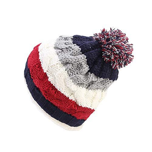 Euone  Caps, Women Knit Slouchy Beanie Chunky Baggy Hat Pompom Winter Soft Warm Ski Cap Rainbow Stripe Caps (Navy)