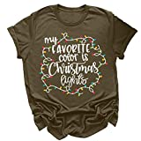 Eoeth Women Christmas Letter Print Short Sleeves O-Neck Loose T-Shirt Blouse Tops Pullover Sportswear Merry Christmas Army Green