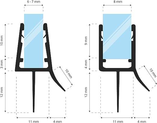STEIGNER 190cm Joint de douche arrondi courb/é pour les vitres d/'une /épaisseur 6 mm// 7 mm// 8 mm UK05