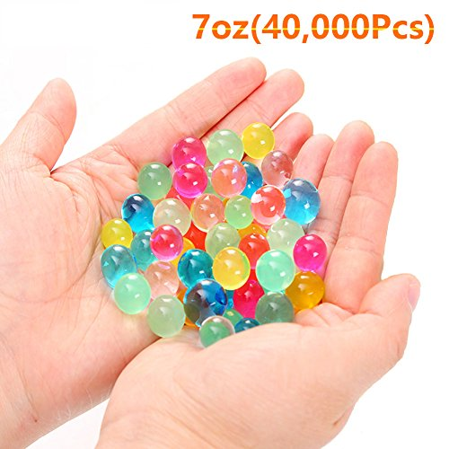 XIN YKY 40,000 Pcs Water Beads Rainbow Mix Crystal Soil Jelly Water Growing Balls for Kids Tactile Sensory Toys, Vases, Plants, Wedding, Party and Home Decoration, (Crystal Bead Ball)