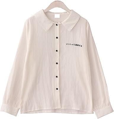 Packitcute Camisa de Bordado Japonesa Doll Collar Manga Larga Camisa de Blusa de Algodón Color Puro para Primavera (Fresh White, M): Amazon.es: Ropa y accesorios