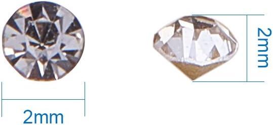 PandaHall Rhinestone Schiena Appuntito,Cono,Schiena Placcato,Chiaro,2mm di Diametro Circa 1440pcs//scatola 2mm di Spessore