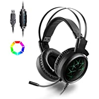 Gaming Headphones PS4 with Mic, MAD GIGA 7.1 Stereo Sound Gamer Headset USB with 360 Degrees Microphone and RGB Light for PC, Computer, Laptop
