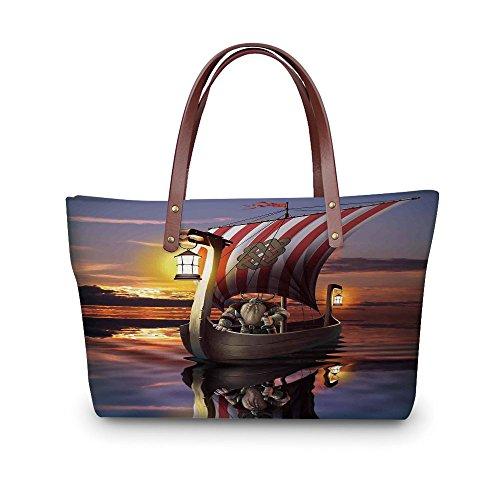 Design the fashion for you Waterproof Women Casual Handbag Tote Bags,Viking,A Warrior with Sword and Helmet in Ship Twilight Barbarian Nordic Scandinavian Art Print,Multi. -