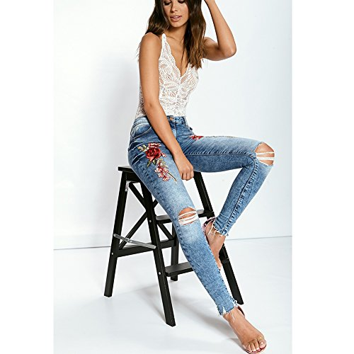 Vaqueros señoras de Ajustados Mujeres SELUXU Vaqueros Ajustados Jeans Color2 Las Bordados elásticos Las de Pitillo dq8wvS