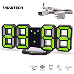 LED Digital Alarm Clock, Desk Shelf Tabletop Modern 3D Wall Clock, Easy To Read at Night, Loud Alarm and Snooze, 3 Brightness Levels Alarm Clock for Heavy Sleepers Home Decor