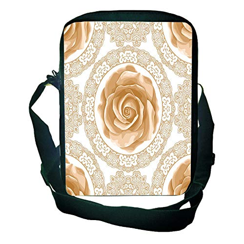 (Strong Durability One Shoulder Small Satchel Floral,Rose Florets with Classic Golden Lace Authentic Feminine Retro Oriental Motif,Sand Brown White for Children,Print Design,9.4