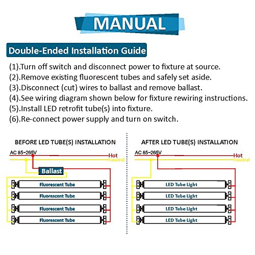 Pack of 4) Barrina T8 T10 T12 LED Light Tube, 8ft, 44W (100W ...  Tube Fluorescent Fixture Wiring Diagram For on wiring diagram for led driver, wiring diagram for ceiling light, wiring diagram for led bulb, wiring diagram for lamp, wiring diagram for ballast, wiring diagram for track light,