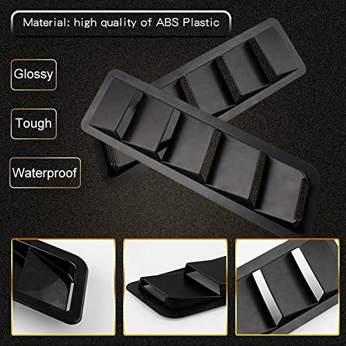 Ruien 2Pc Hood Vent Air Flow Intake Side Scoop Hood Cover Car Decorative ABS Universial on Car SUV Truck Black
