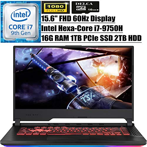 "ASUS ROG Strix G 2020 Premium Gaming Laptop I 15.6"" FHD Display I Intel Hexa-Core i7-9750H I 16GB DDR4 1TB PCIe SSD 2TB HDD I 4GB GTX 1650 RGB Backlit WiFi Win 10 + Delca 16GB Micro SD Card"