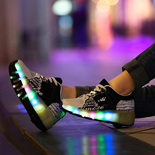 WHEELYS Skateboard Schuhe Turnschuhe Jungen und Mädchen Wanderschuhe Neutral Kuli Rollschuh Schuhe mit LED-Skateboard Lichter Blinken Schuhe Räder Schuhe Schwarz Weiß