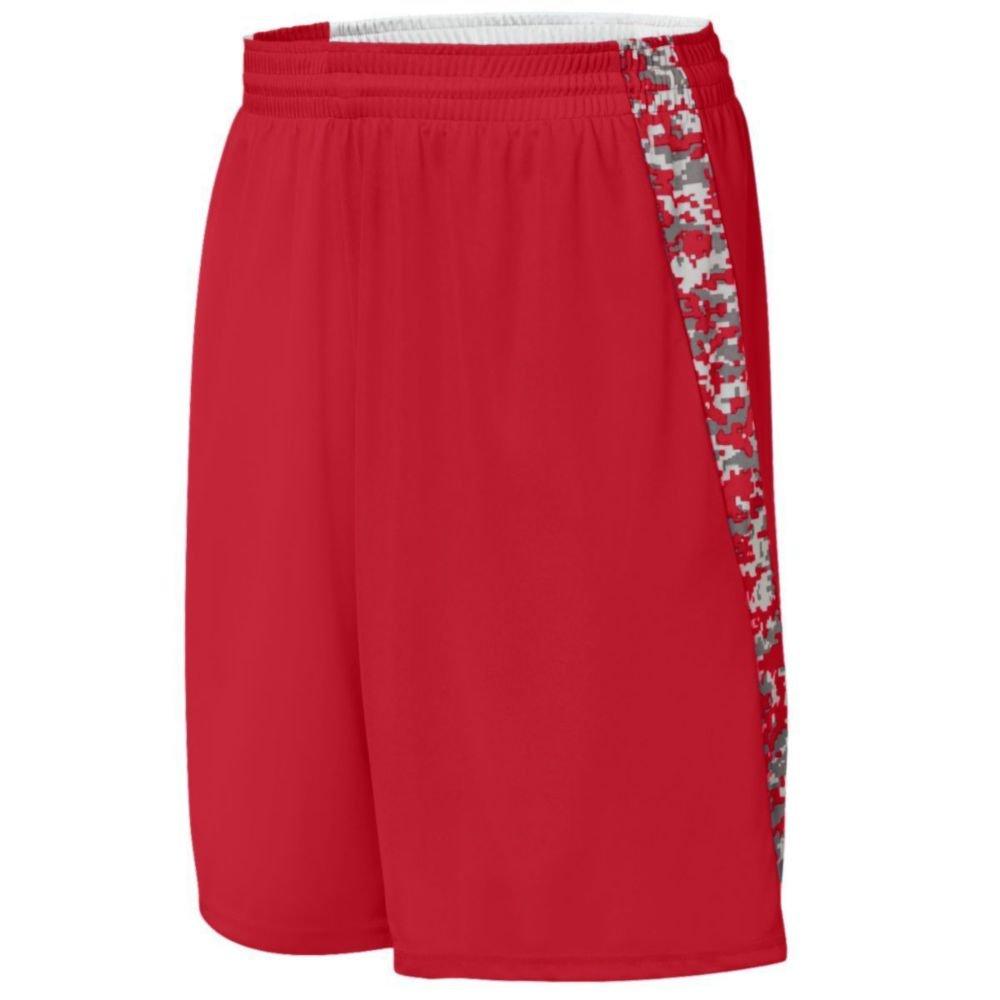 Augusta Activewear Hook Shot Reversible Short, Red/Red Digi, Small by Augusta Activewear
