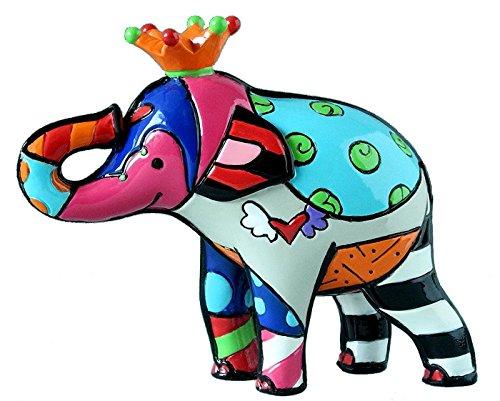 Elephant With Orange Crown Romero Britto Mini// Miniature 3D Figurine