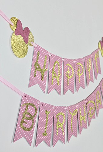 Happy Birthday Banner - Mouse Pink & Gold Banner - Pink & Gold Birthday Banner ()