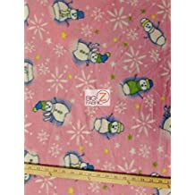 CHRISTMAS POLAR FLEECE FABRIC SOLD BY THE YARD BABY BLANKET WINTER SNOWMAN (Pink)