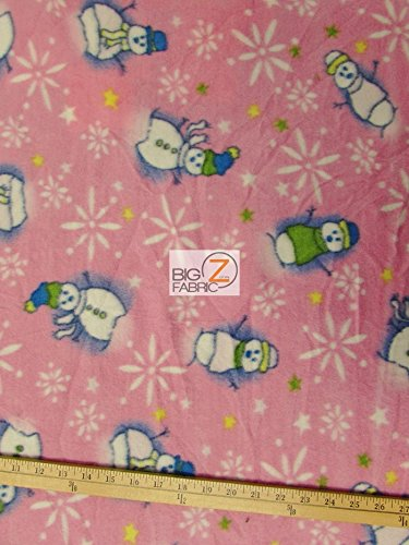 big z fabric christmas print polar fleece fabric snowman pink 60 width sold