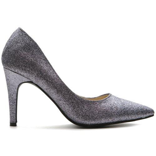 Ollio Women's Glitter Shoe High Heel Multi Color Pump(8 B(M) US, Dark Silver)