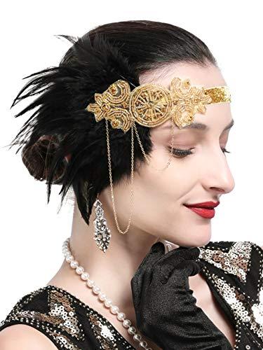 1920s Gatsby Flapper Feather Headband 20s Accessories Crystal Beaded Wedding Headpiece (K-Gold)