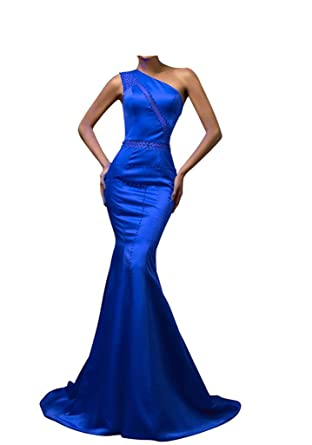 Chupeng Womens One Shoulder Beading Long Mermaid Formal Prom Evening Dresses Blue 2
