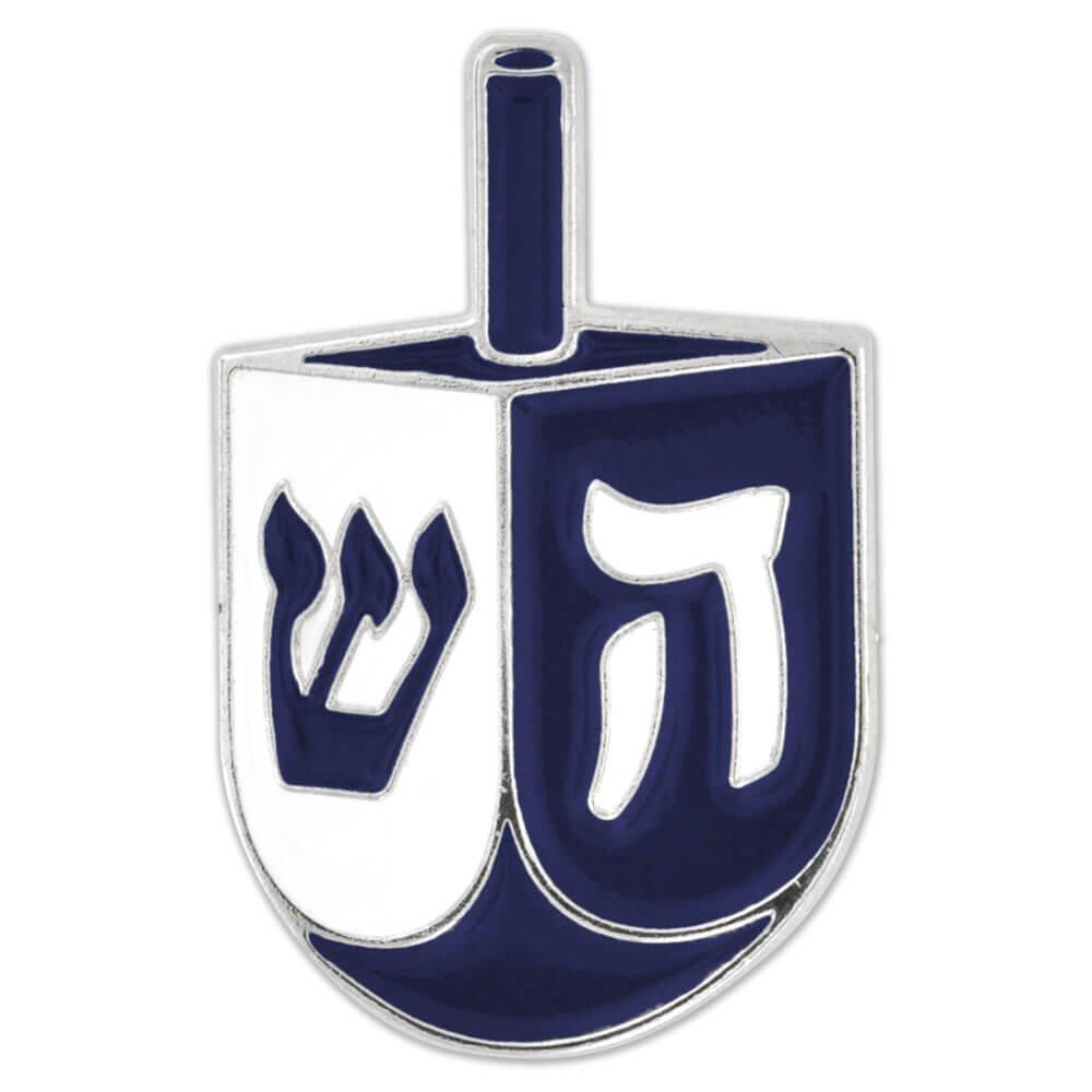 PinMart's Blue & White Hanukkah Dreidel Holiday Enamel Lapel Pin