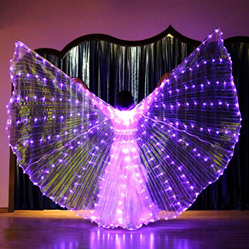 m·kvfa LED Belly Dance Angel Isis Wings Butterfly Wings with Telescopic Sticks High Brightness Easy Bending 360 Degrees Light (Purple) -