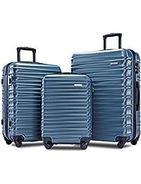 "Afuture Luggage Set Hardside Lightweight Spinner Suitcase 20"" 24"" 28"" (Steel Blue)"