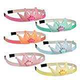 XIMA 6pcs Sequin Crown Hairbands Girls Mini Cartoon Head Bands Glitter Hair Bands For Kids