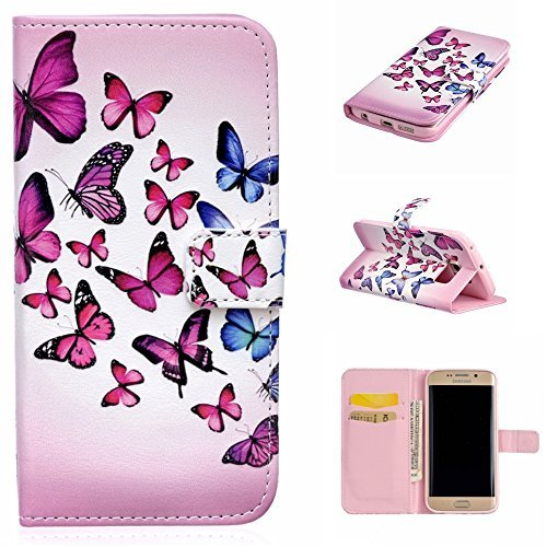 UNEXTATI Galaxy S6 Edge Case, Premium Wallet Case with Black Cover, Card Slot, Kickstand Function, Magnetic Closure, Impact Resistant, Samsung GalaxyS6 Edge (P10 Pink)