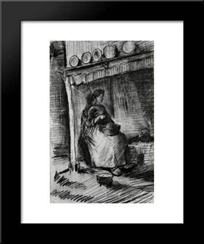 Vincent Fireplace - Interior with Peasant Woman Sitting near the Fireplace 20x24 Framed Art Print by Vincent van Gogh