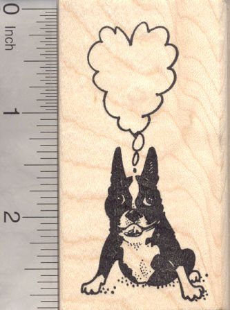 Boston Terrier Dog Rubber Stamp, with Heart Shaped Thought Balloon