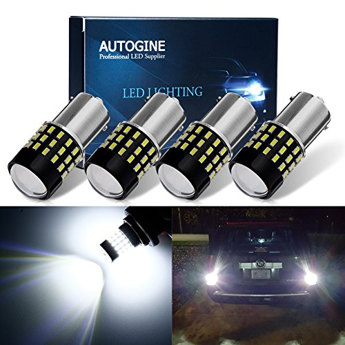AUTOGINE 4 X 1000 Lumens Super Bright 9-30V 1156 1003 1141 7506 BA15S LED Bulbs 3014 54-EX Chipsets with Projector for Back Up Reverse Lights DRL Turn Signal Lights Tail Brake Lights, Xenon White