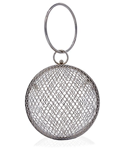 Miuco Women Chain Crossbody Bags Hollow Out Cage Metal Round Clutch Silver by Miuco