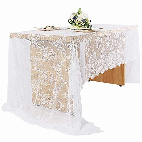 (Woowland White Lace Tablecloths 60 x 120 Inch, Rustic Wedding Lace Table Runner Overlay Table Cover, Rectangle Vintage Lace Decoration, Bridal Shower Baby Shower Birthday Outdoor Party Table)