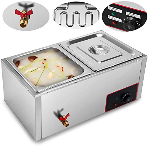 VEVOR Commercial Food Warmer 110V Electric Food Warmer 850W Stainless Steel Bain Marie Buffet Food Warmer Steam Table for Catering and Restaurants (2-Pan) ()